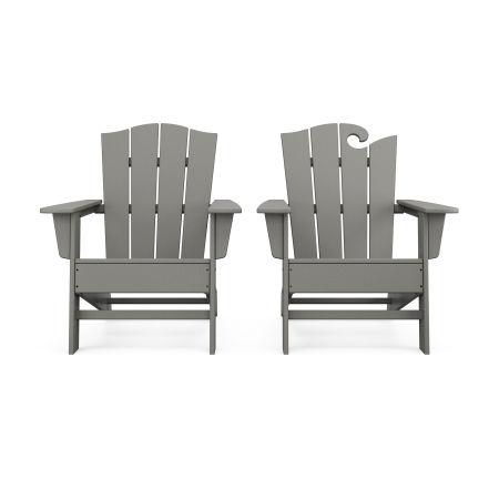 Wave 2-Piece Adirondack Chair Set with The Crest Chair in Slate Grey