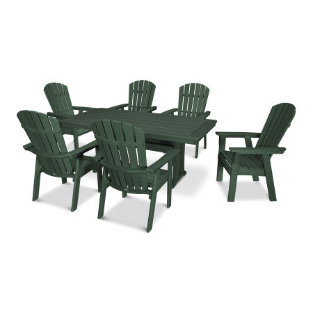 Nautical Adirondack 7-Piece Trestle Dining Set in Green