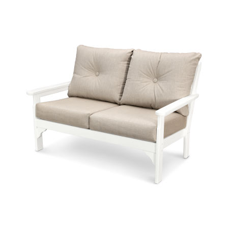 Vineyard Deep Seating Settee in Vintage White / Cast Ash