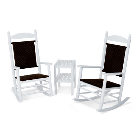 Jefferson 3-Piece Woven Rocking Chair Set in White Frame / Cahaba