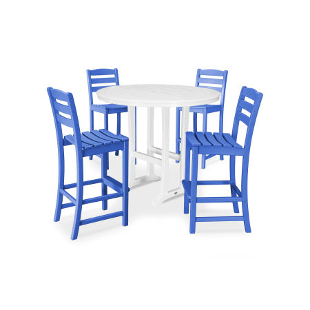 La Casa Café 5 Piece Side Chair Bar Dining Set in Pacific Blue