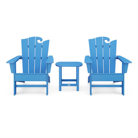Wave 3-Piece Adirondack Set with The Ocean Chair in Pacific Blue