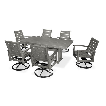 7 Piece Signature Swivel Rocking Chair Dining Set in Textured Black / Slate Grey