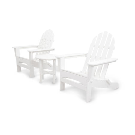 Classics 3-Piece Folding Adirondack Set in White