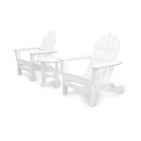 Classics 3-Piece Folding Adirondack Set in White