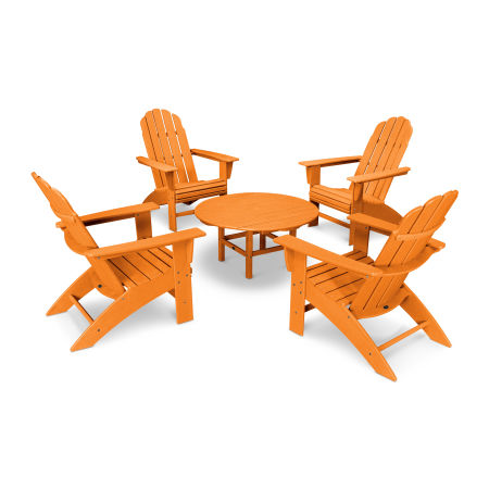Vineyard 5-Piece Oversized Adirondack Set in Vintage Tangerine
