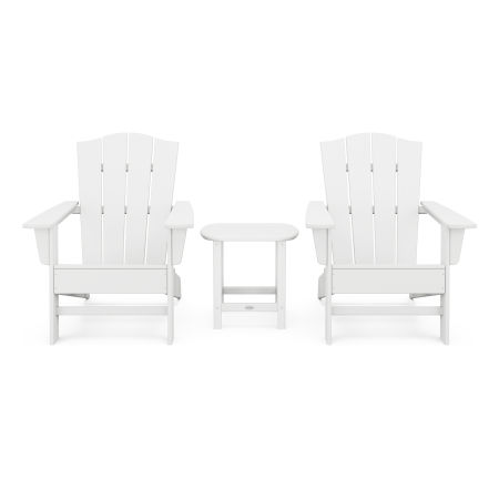 Wave 3-Piece Adirondack Chair Set with The Crest Chairs in White