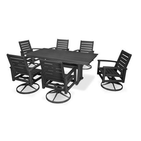 7 Piece Signature Swivel Rocking Chair Dining Set in Textured Black / Black