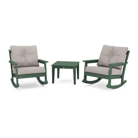 Vineyard 3-Piece Deep Seating Rocker Set in Green / Weathered Tweed