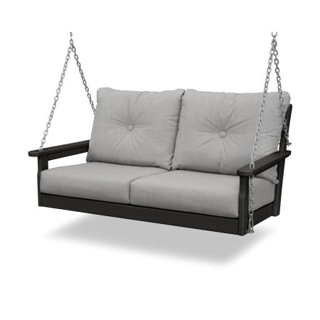 Vineyard Deep Seating Swing in Black / Canvas Granite
