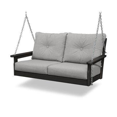 Vineyard Deep Seating Swing in Black / Canvas Granite