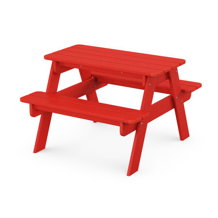 Kids Picnic Table in Sunset Red