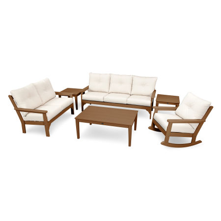 Vineyard 6-Piece Deep Seating Set in Teak / Antique Beige