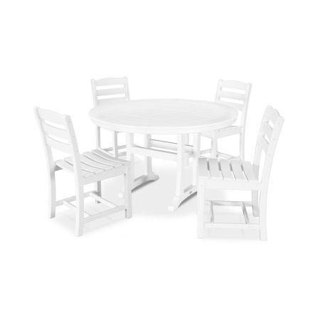 La Casa Café 5 Piece Side Chair Dining Set in White