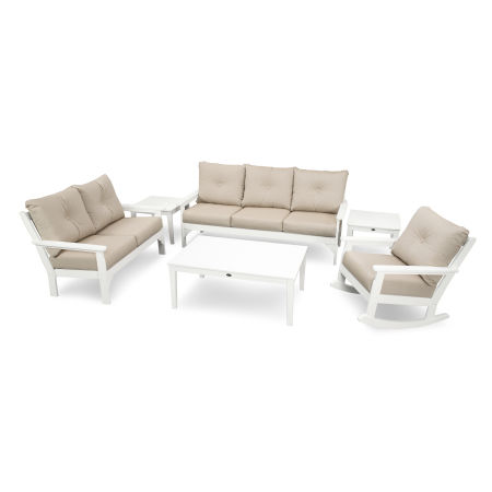 Vineyard 6-Piece Deep Seating Set in White / Cast Ash