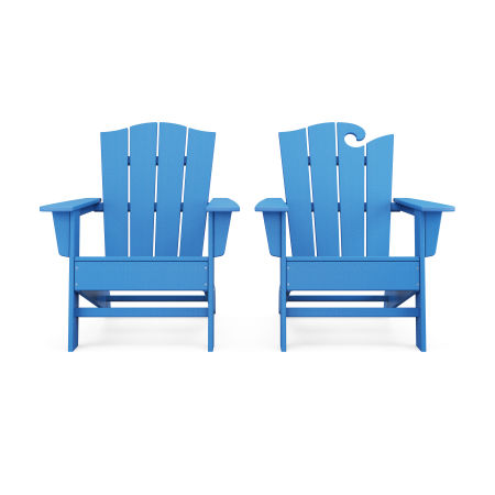Wave 2-Piece Adirondack Chair Set with The Crest Chair in Pacific Blue