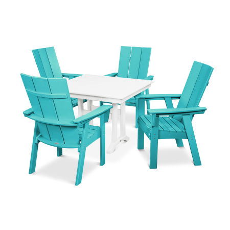 Modern Adirondack 5-Piece Farmhouse Dining Set in Aruba / White