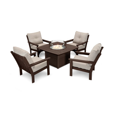Vineyard 5-Piece Conversation Set with Fire Pit Table in Mahogany / Cast Ash