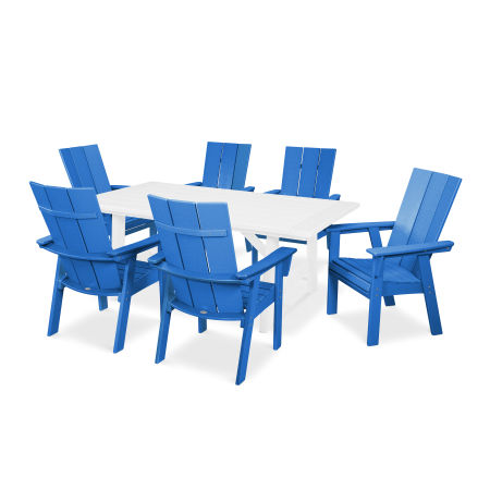 Modern Adirondack 7-Piece Rustic Farmhouse Dining Set in Pacific Blue / White