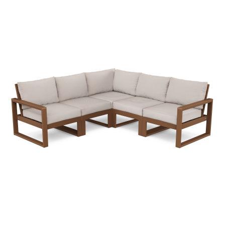 EDGE 5-Piece Modular Deep Seating Set in Teak / Dune Burlap