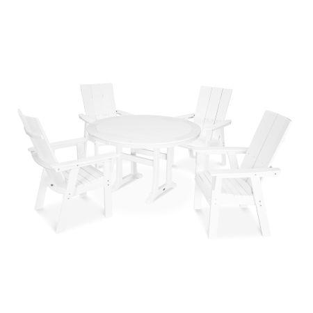 Modern Adirondack 5-Piece Nautical Trestle Dining Set in Vintage White