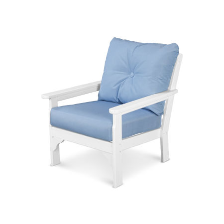 Vineyard Deep Seating Chair in White / Air Blue