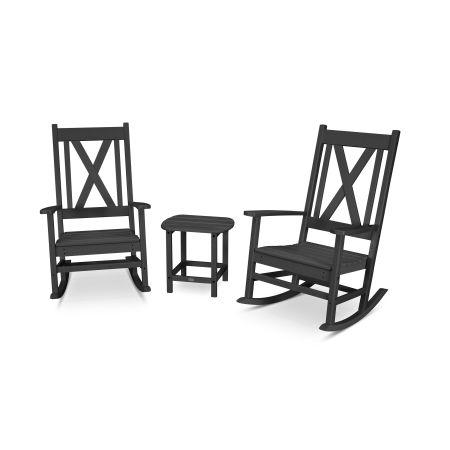 Braxton 3-Piece Porch Rocking Chair Set in Black