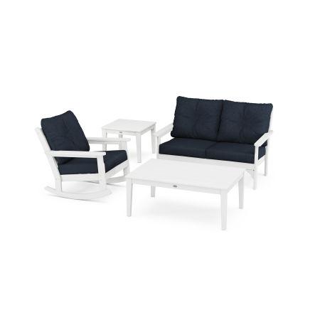 Vineyard 4-Piece Deep Seating Rocker Set in White / Marine Indigo