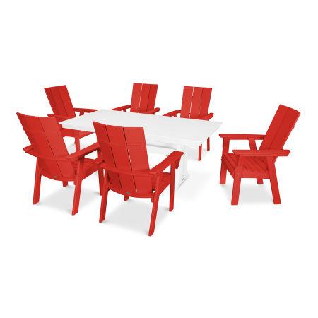 Modern Adirondack 7-Piece Farmhouse Dining Set in Sunset Red / White