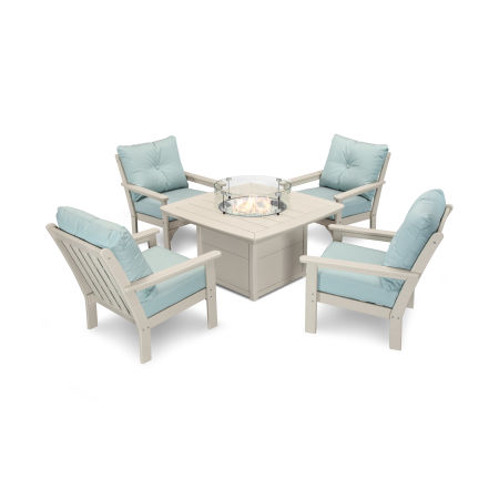 Vineyard 5-Piece Conversation Set with Fire Pit Table in Sand / Spa