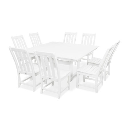 Vineyard 9-Piece Farmhouse Dining Set in White