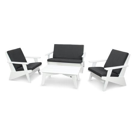 Riviera Modern Lounge 4-Piece Set in White / Spectrum Carbon