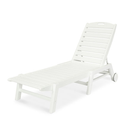 Nautical Chaise with Wheels in Vintage White