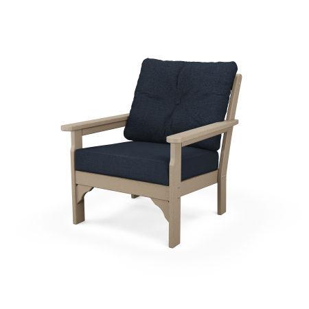 Vineyard Deep Seating Chair in Vintage Sahara / Marine Indigo