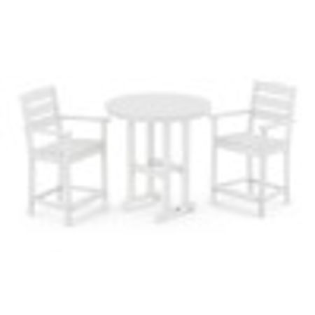 Lakeside 3-Piece Round Counter Arm Chair Set in White