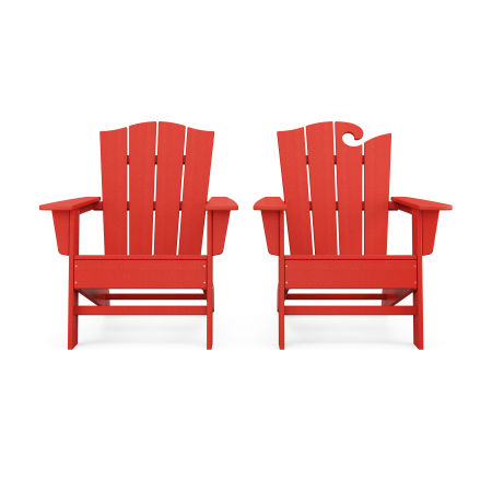 Wave 2-Piece Adirondack Chair Set with The Crest Chair in Sunset Red