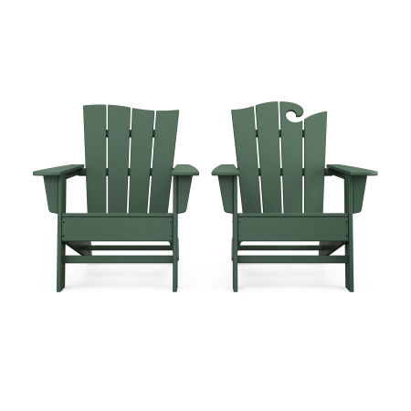 Wave 2-Piece Adirondack Set with The Wave Chair Left in Green