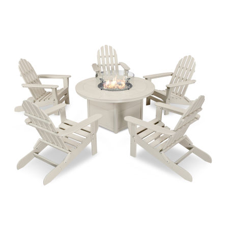 Classic Folding Adirondack 6-Piece Conversation Set with Fire Pit Table in Sand