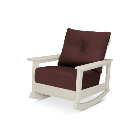 Prescott Deep Seating Rocking Chair in Sand / Cast Currant