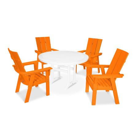 Modern Adirondack 5-Piece Nautical Trestle Dining Set in Tangerine / White