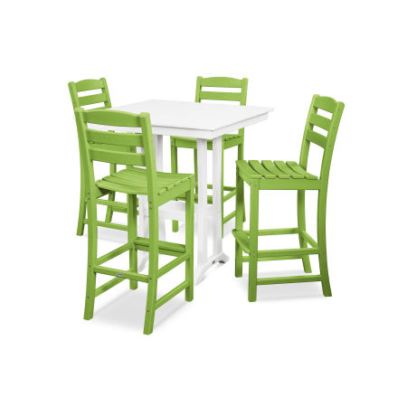 La Casa Café 5-Piece Farmhouse Bar Set in Lime / White