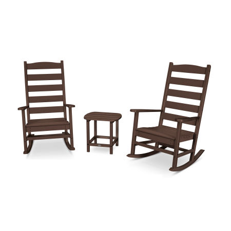 Shaker 3-Piece Porch Rocking Chair Set in Mahogany