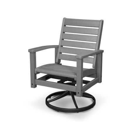 Signature Swivel Rocking Chair in Textured Black / Slate Grey