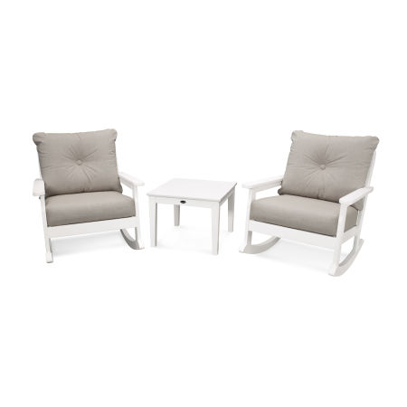 Vineyard 3-Piece Deep Seating Rocking Chair Set in White / Cast Ash