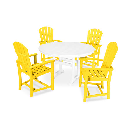 5 Piece Palm Coast Dining Set in Lemon / White