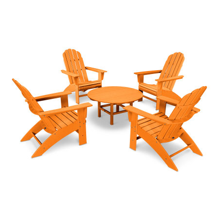 Vineyard 5-Piece Curveback Adirondack Set in Tangerine