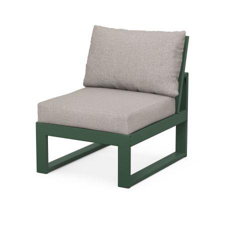 Modular Armless Chair in Green / Weathered Tweed