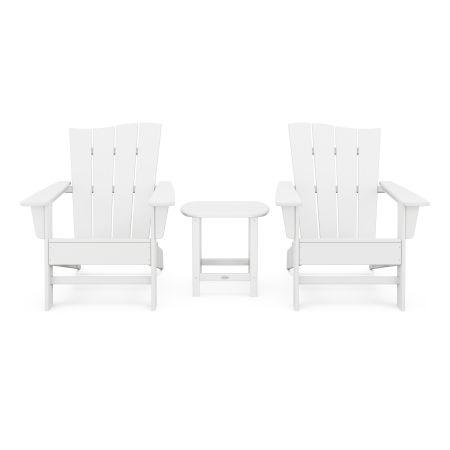 Wave 3-Piece Adirondack Chair Set in White