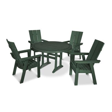 Modern Adirondack 5-Piece Nautical Trestle Dining Set in Green
