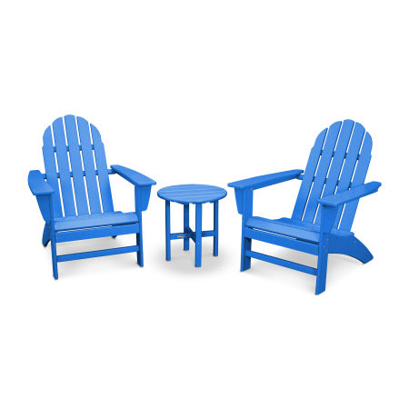 Vineyard 3-Piece Adirondack Set in Pacific Blue